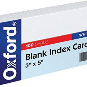 White Index Card 3 x 5 pack (9th grade and higher)