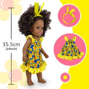 Nice2you 14 Inch Black Girl Doll African American Baby Play Dolls