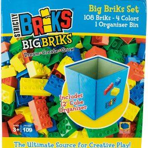 Strictly Briks Big Briks 108 Pcs Set with Blue Organizer, Building Brick Set 100% Compatible with All Major Brands – Basic Colors
